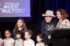 CEO Claire Spencer and Molly Meldrum with the Gospo Choir at the Launch of the Australian Music Vault. Photo by Ros O'Gorman