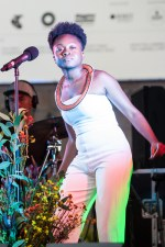 Sampa The Great 13th AMP showcase Pop up at the Arts Centre Foyer Melbourne on a Flatbed Truck. Photo Ros O'Gorman