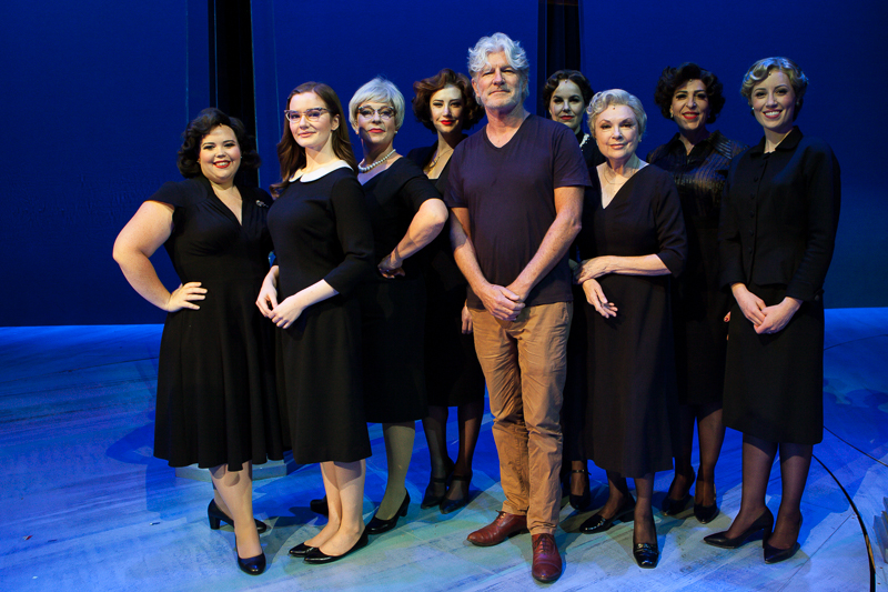 Tim Finn with Ladies in Black Cast at the Regent Theatre in Melbourne on Tuesday 23 February 2017. Trisha Noble is third from the right - Photo by Ros O'Gorman