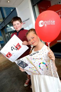 noise-action-week-winners-lauren-o-donnell-age-11-and-mickey-mccoy-age-9-with-their-winning-posters-163302271
