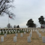 Fayetteville (Arkansas) National Cemetery prior to decorating.