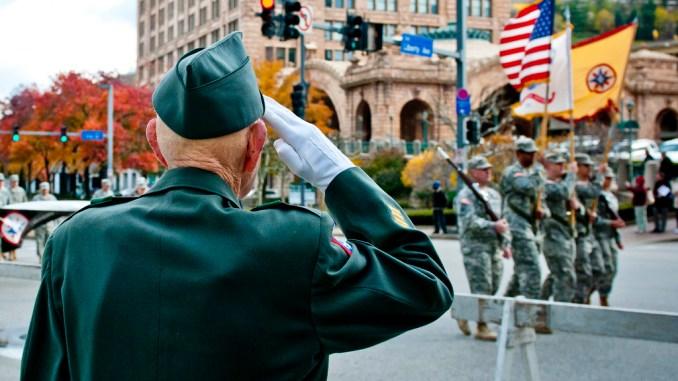 US Military Salute WWII Vet Veterans Day 2014