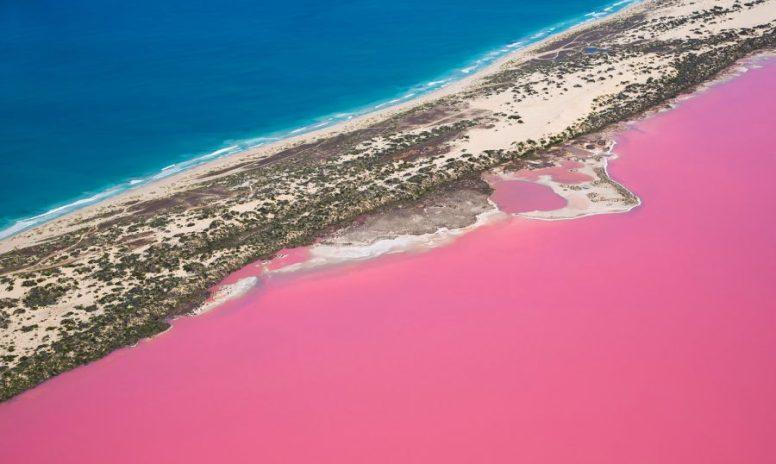 hutt lagoon lago rosa australia steve back