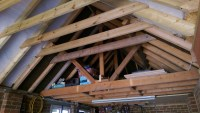 removing a couple more roof joists in the garage roof ...