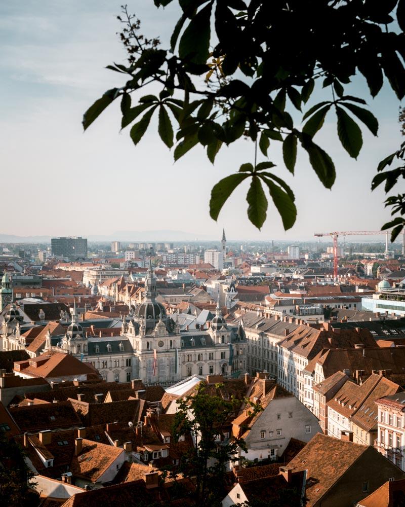 Graz Schlossberg Blick auf Rathaus