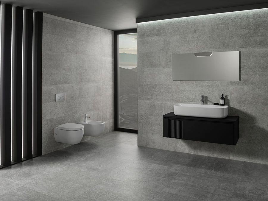 The Architect Round Pack The Bathroom Gives In To A White Black And Grey Fusion Noken