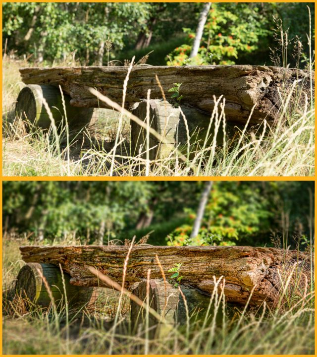 Ein Vorher-Nachher-Vergleich einger verwitterten Holzbank