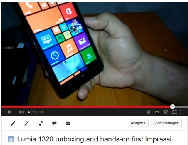 Lumia 1320 video