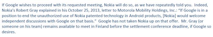 Nokia re. 13-10-25 letter to Motorola Mobility Holdings