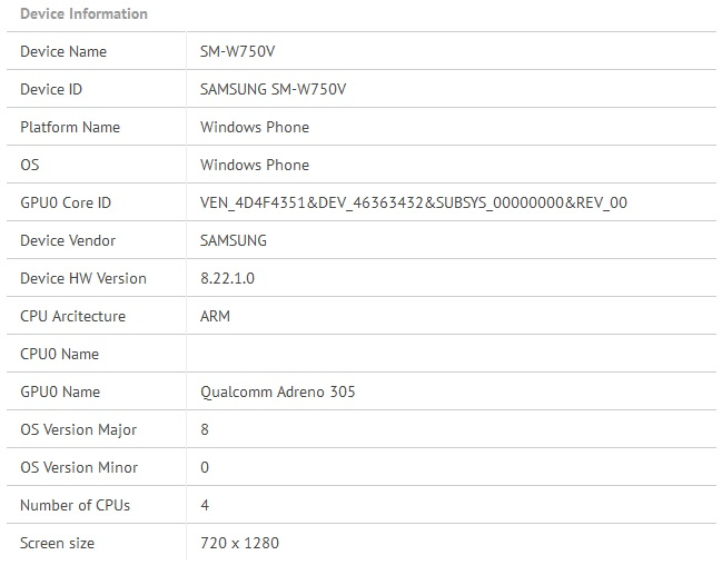 Samsung SM-W750V has quad-core Snapdragon processor