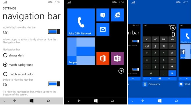 WP8.1 nav bar