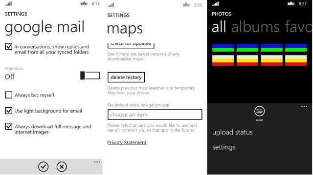 settings wp8.1