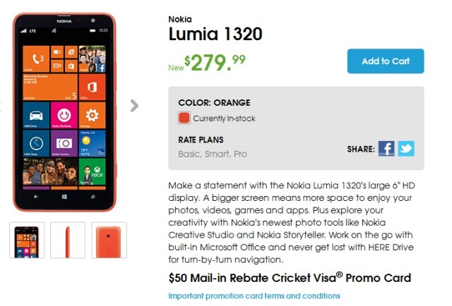 Lumia 1320 cricket