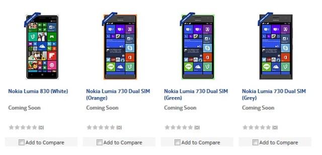 Lumia 730 830 India
