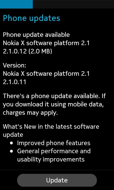 Nokia X2 update