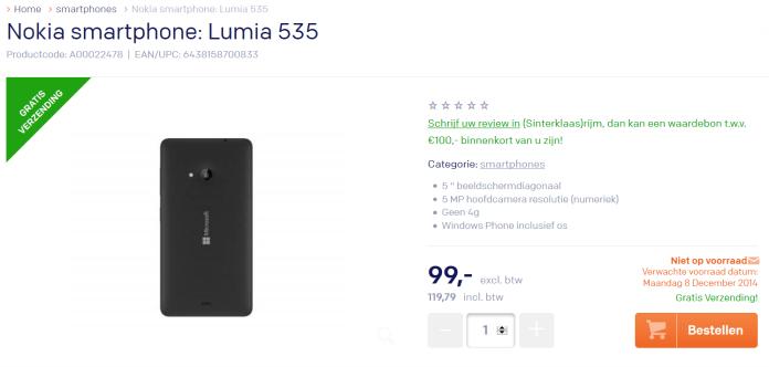 Lumia 535 Centralpoint - details