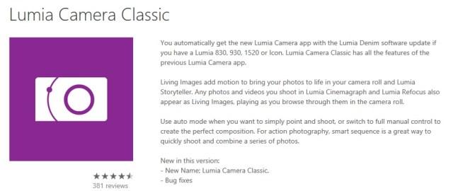 Lumia camera classic
