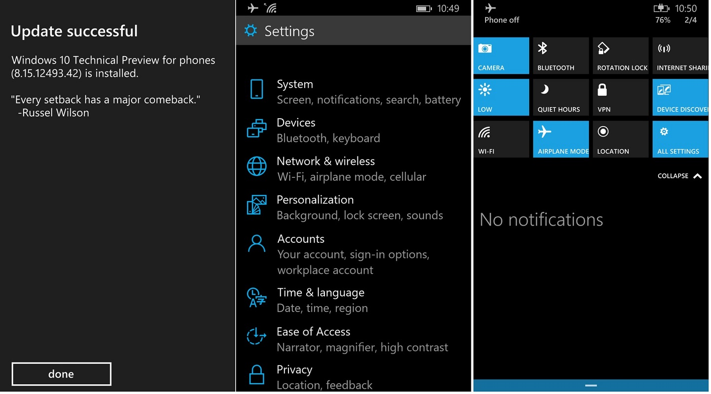 Windows 10 for Phones preview to have OS Roll-back feature