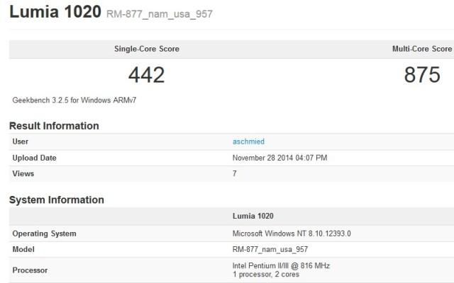 Lumia 1020 Geekbench