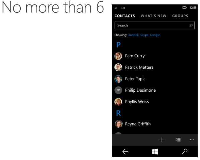 Win 10 contacts
