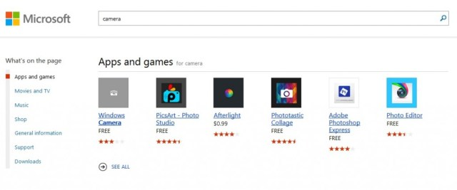 Windows store search