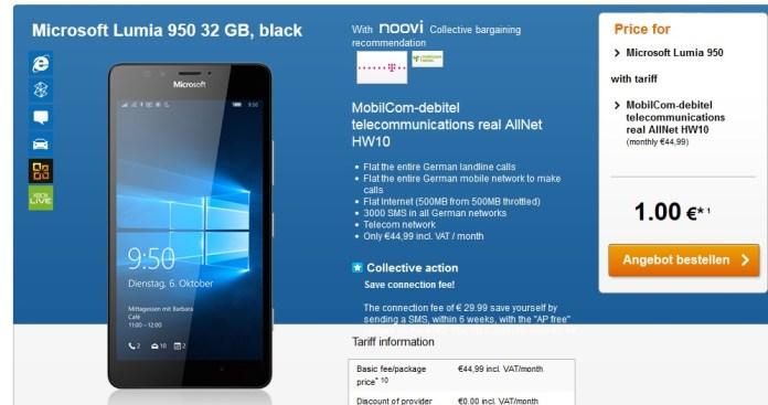 Lumia 950 Germany subsidized