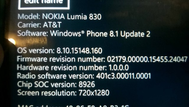 Lumia 830 FW AT&T
