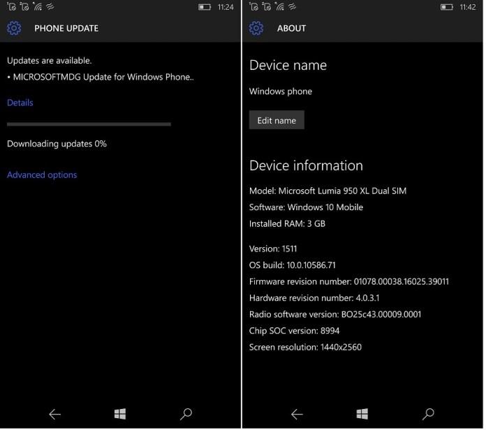 Firmware Lumia 950