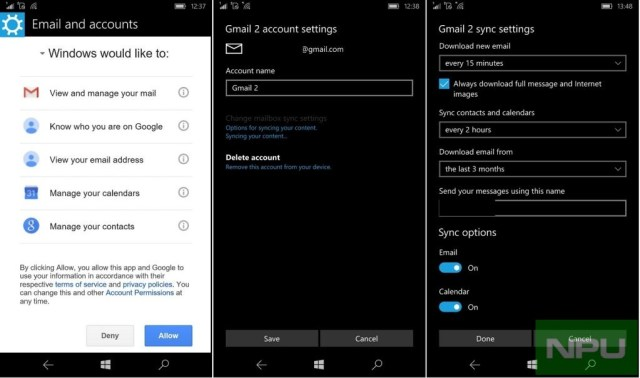 GMail Windows 10 Mobile 2