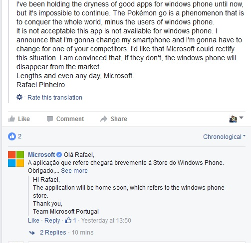 Pokemon Go Microsoft Portugal