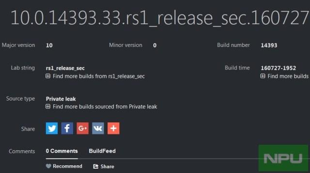 Windows 10 Mobile Build 14393.33