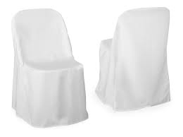 white folding chair covers little girl rocking polyester cover for rent nolan s rental fits chairs available in and ivory there is an additional fee the installation of sashes please call or stop by