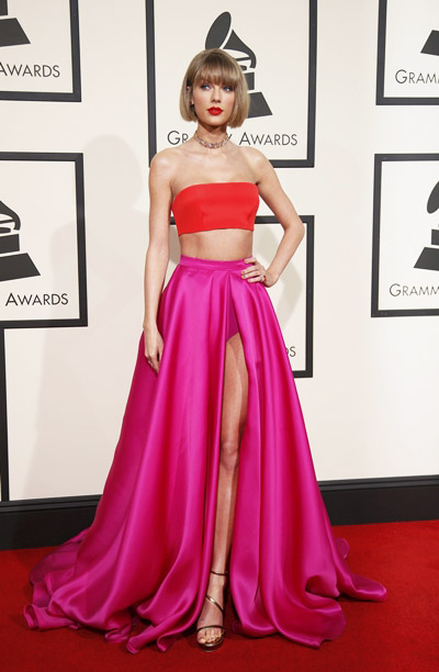 Singer Taylor Swift arrives at the 58th Grammy Awards in Los Angeles, California February 15, 2016. REUTERS/Danny Moloshok