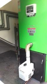 Kocioł na pellet w bardzo małej kotłowni przewidzianej na mały kocioł gazowy w Wąbrzeźnie