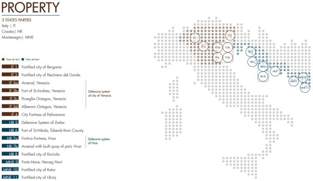 La mappa delle città fortificate della Repubblica Veneziana, oggi parte del patrimonio UNESCO