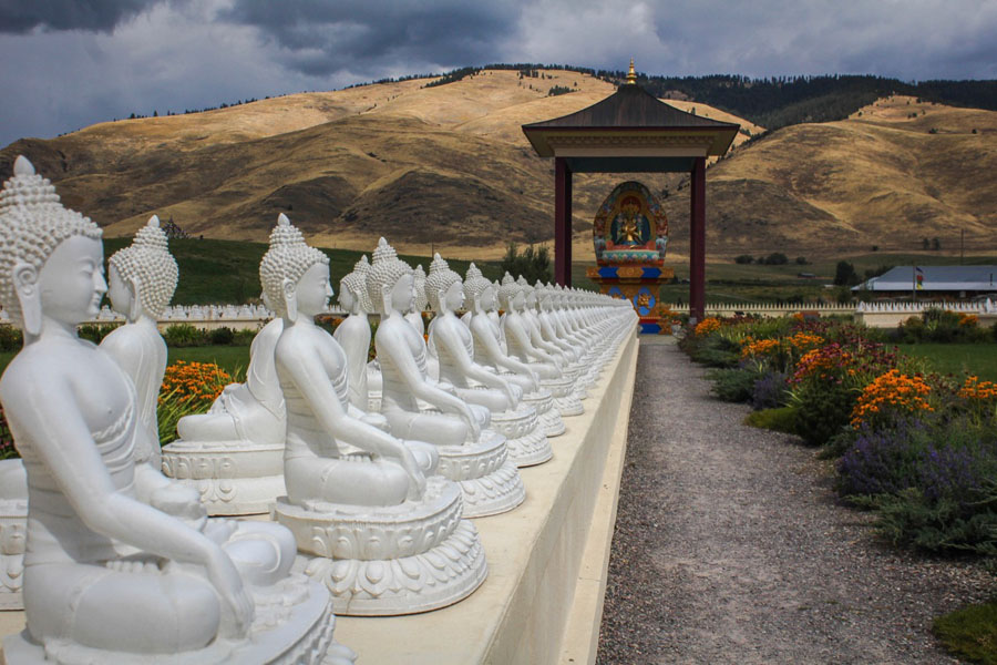 Several of the 1000 buddha statues in Montana