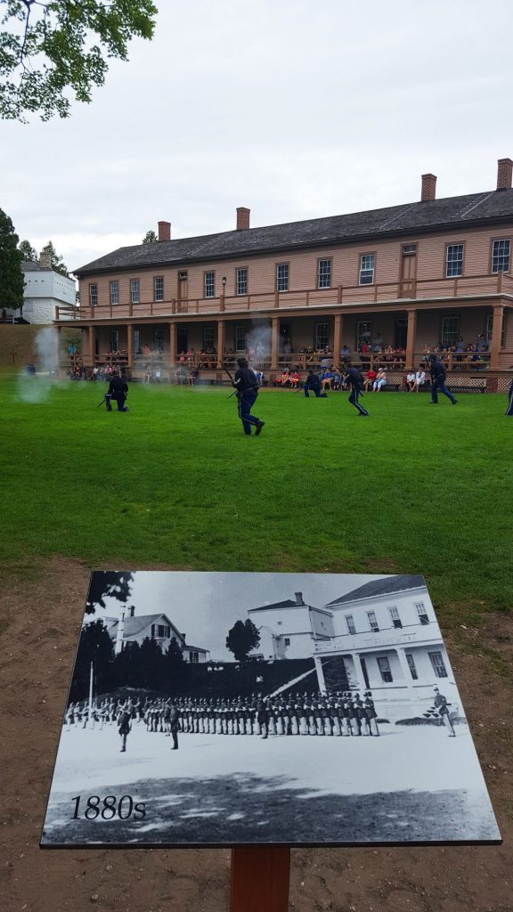 Military demonstration in Fort Mackinac