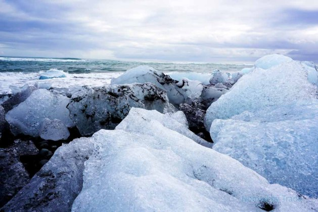 Ice boulders on Diamond Beach in Iceland