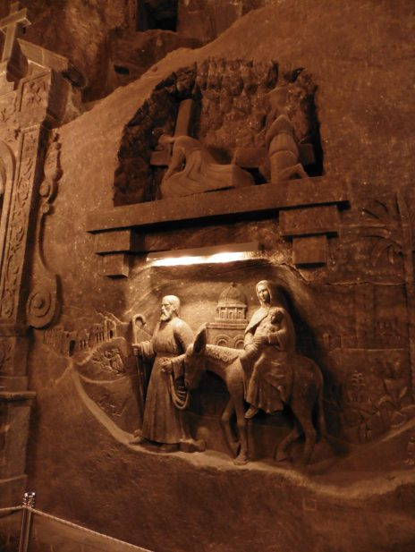 Carvings in the Wieliczka Salt Mine