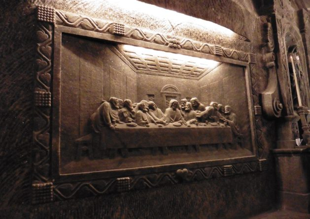 The Last Supper carving in Wieliczka Salt Mine