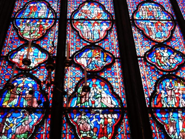 Stained glass in Sainte Chappelle in Paris, France