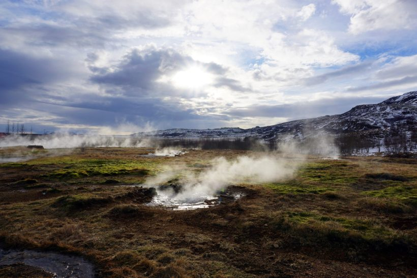 Steaming geysers at Iceland's Geysir area