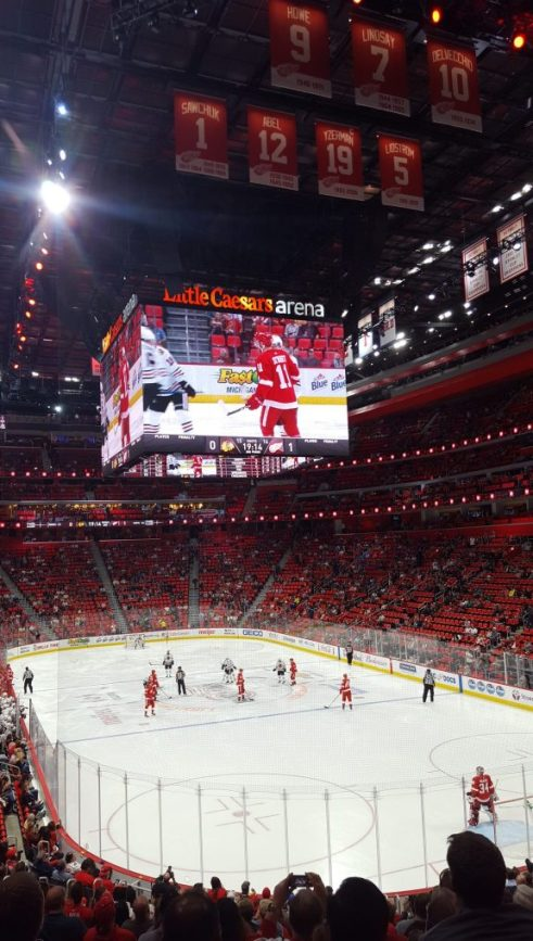Detroit Red Wings game at Little Caesars Arena - Michigan in winter