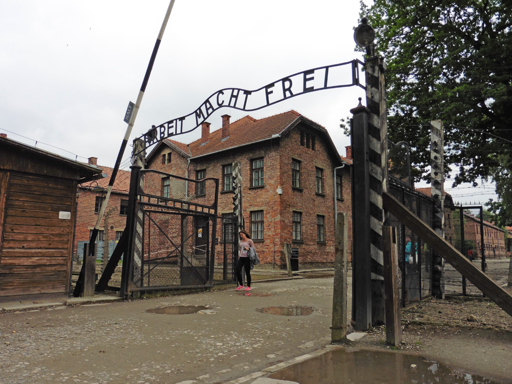 "Gate with ""Arbeit Macht Frei"" at the entrance to Auschwitz"