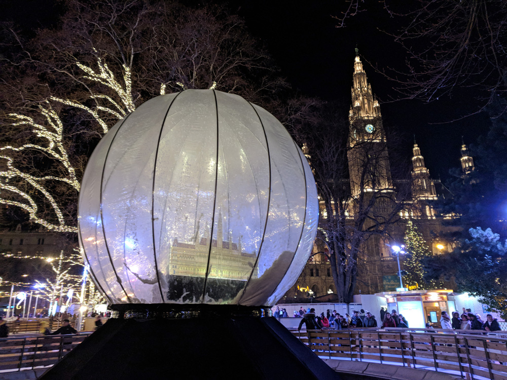 Giant inflatable snow globe at the Vienna Christmas Market