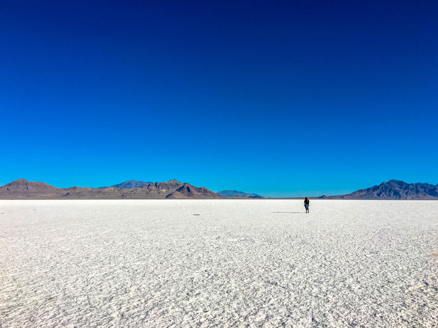 Hiker on the Bonneville Salt Flats in Utah