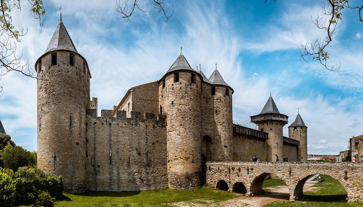 Historic castle in Carcassonne, France