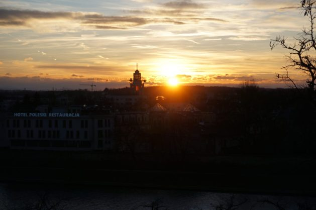 Sunset over the Vistula River from Wawel Castle