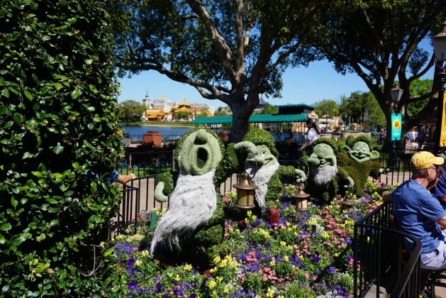 Seven Dwarfs topiaries at the Epcot Flower and Garden Festival 2018