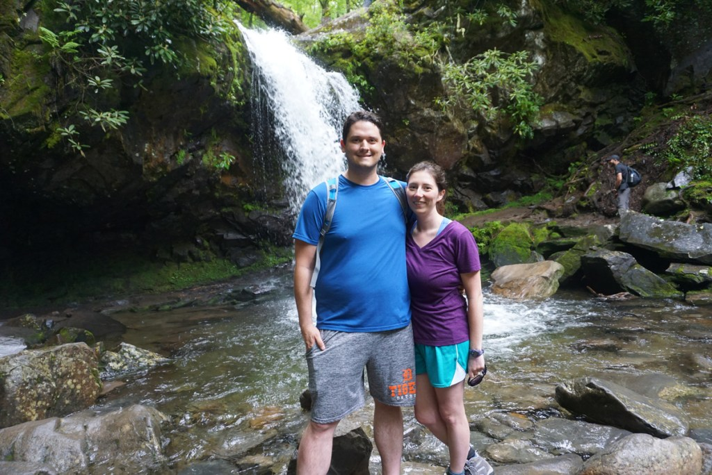 Us posing in front of Grotto Falls, one of my favorite Smoky Mountain waterfalls